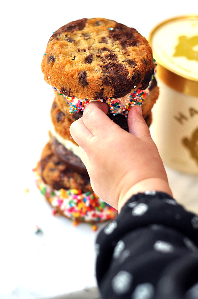 Healthy Brookie Ice Cream Sandwich with Halo Top Ice Cream