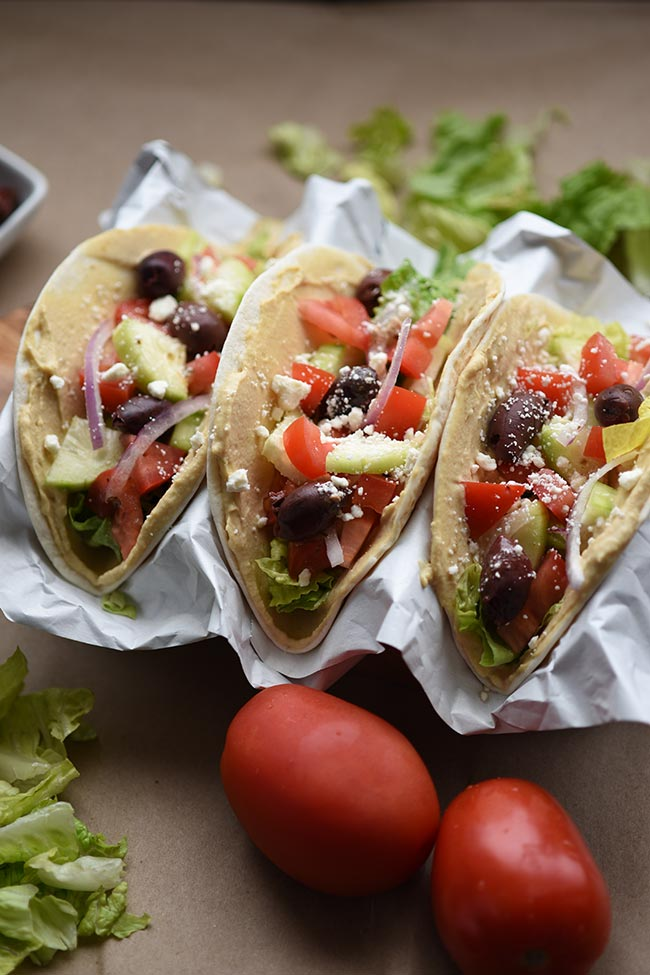 Mediterranean Veggie Tacos - No cooking required! Done in 10 minutes.