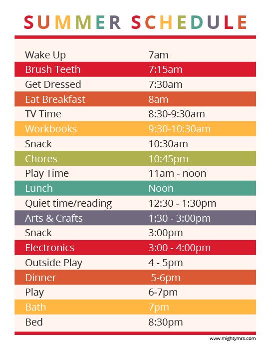 Printable Summer Schedule for Kids