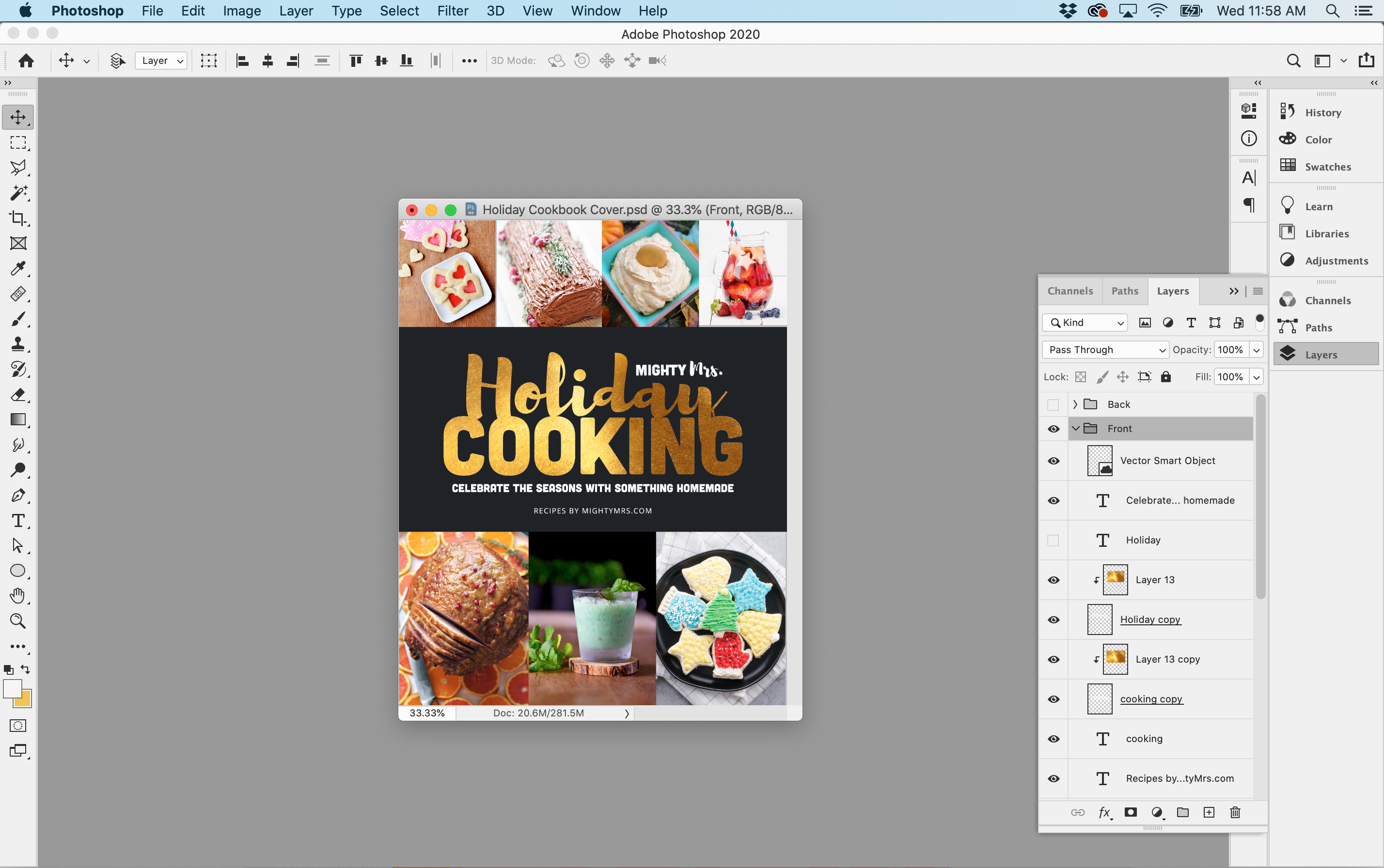 Holiday Cookbook Cover Design Using Photoshop