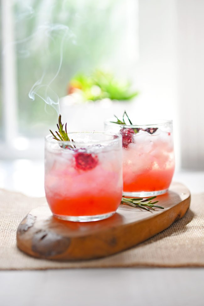Smoked Rosemary and Blackberry Whiskey Sours
