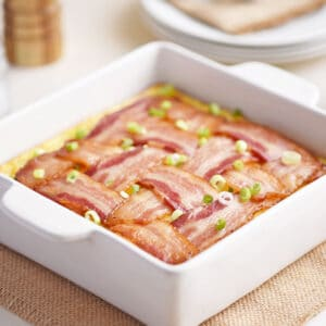Bacon lattice breakfast casserole in 8x8 dish