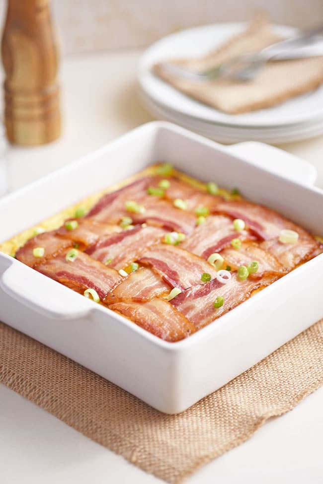 Bacon lattice breakfast casserole in 8x8 dish