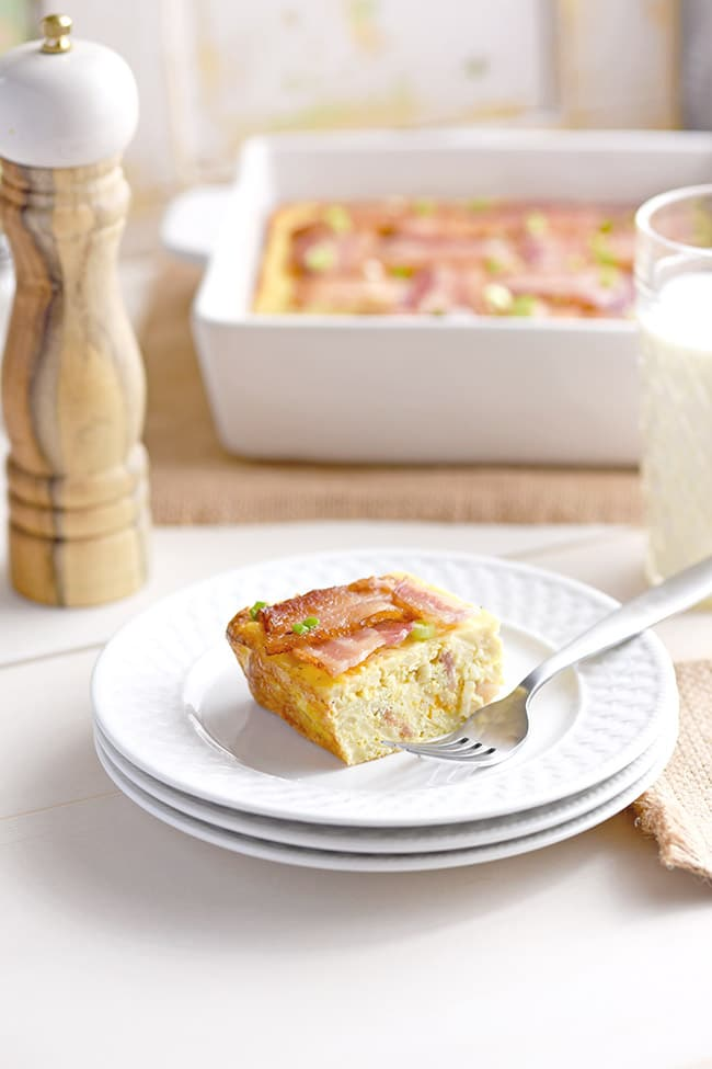 Breakfast Casserole with bacon lattice top