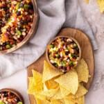 Cowboy Caviar Bean Dip with Chips