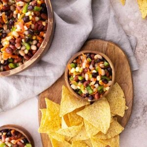 Cowboy Caviar Bean Dip with Chips