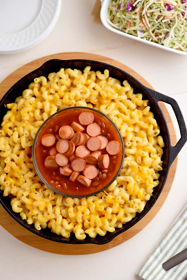 Franks and Beans with Mac and Cheese