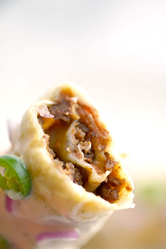 Beef and Bean Taquito Rolls with Queso