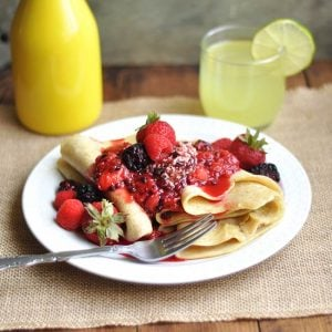 Berry Compote Crepes + Lemon Neat