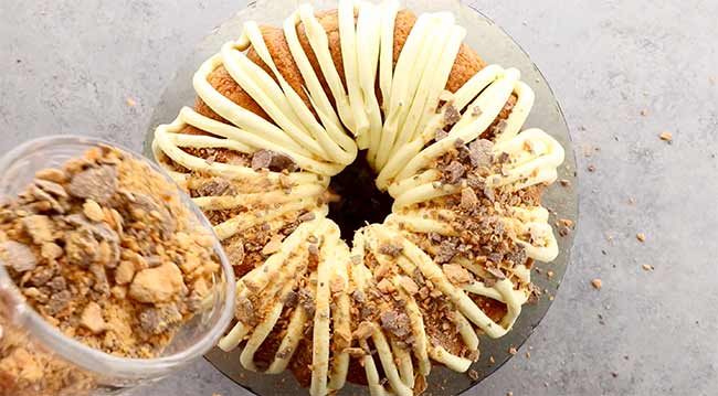 Butterfinger Bundt Cake with Crumble Topping