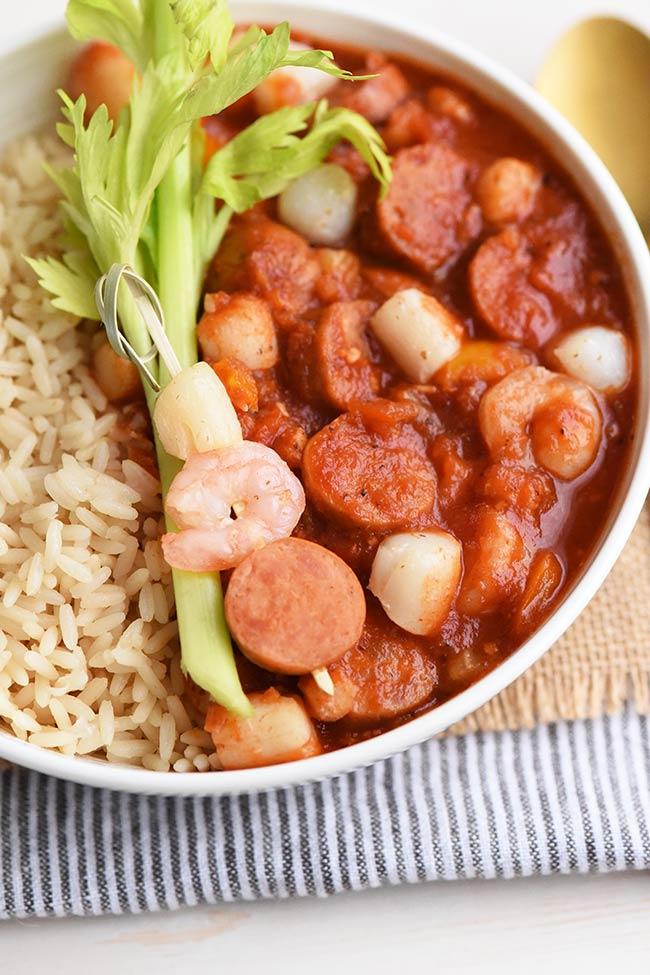 Cajun Sausage and Seafood Gumbo with rice