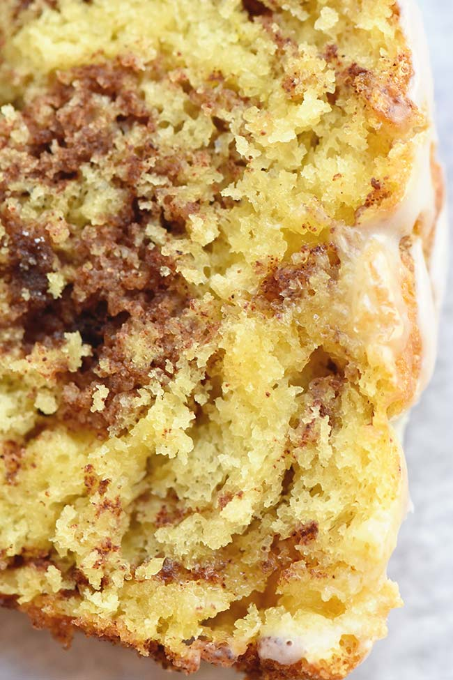 Marbled Cinnamon Bread made with yellow cake mix
