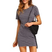 Casual Striped Short Sleeve Dress