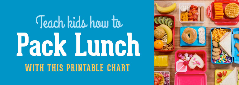 A printable chart that teaches kids pack own lunch
