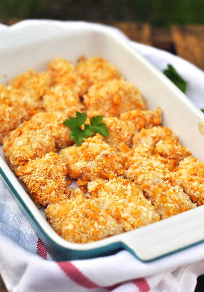 Cheese Cracker and Panko-Crusted Chicken Nuggets