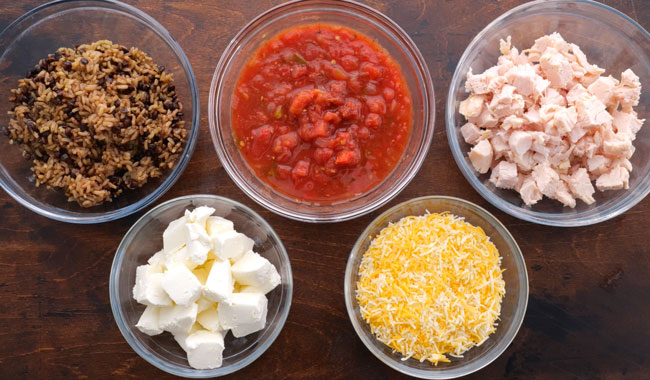 Chicken Tortilla Casserole Ingrdients in Bowls
