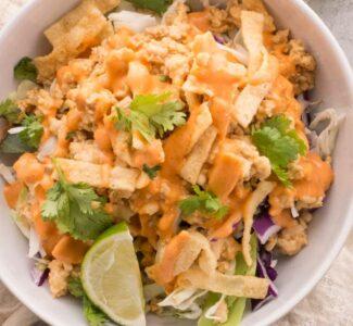 Chicken Wonton Taco in a Bowl