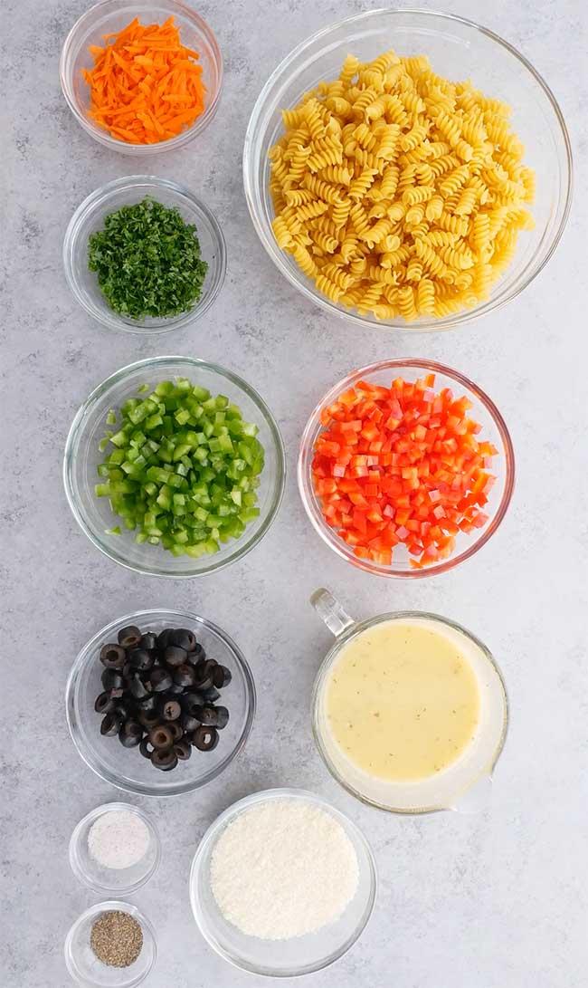 Ingredients for classic Italian Pasta Salad