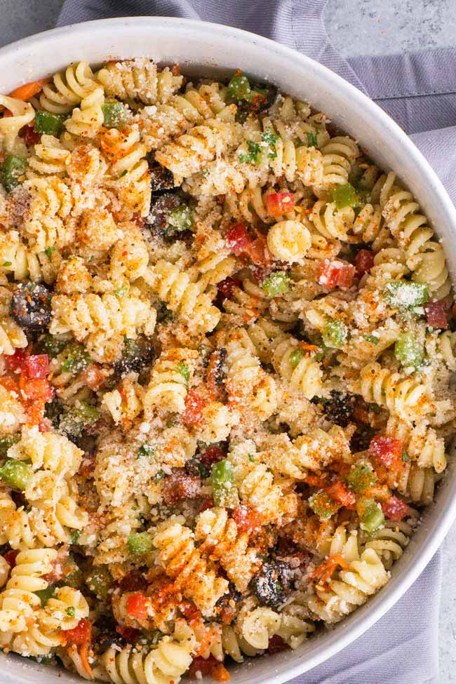 Italian Pasta Salad with Olive Garden Dressing and Salad Supreme