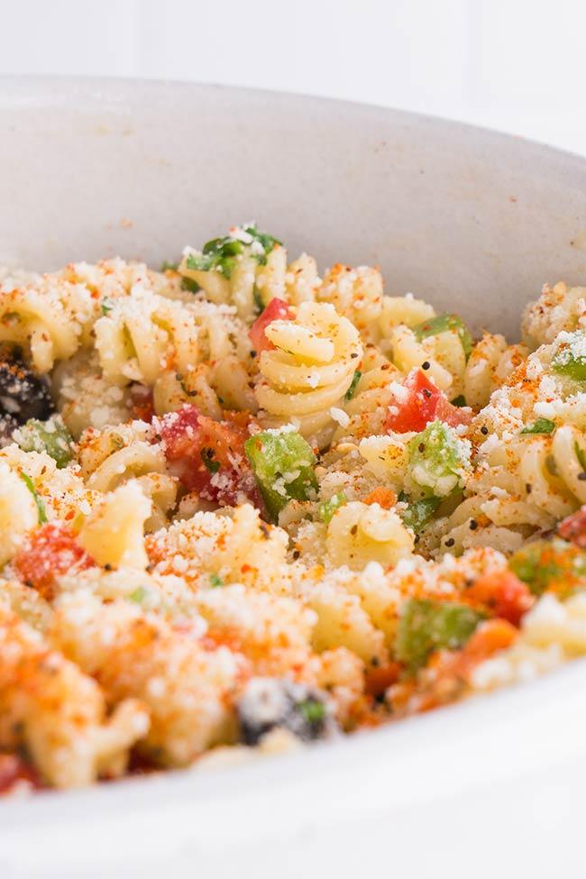 Italian Pasta Salad Topped with Sala Supreme