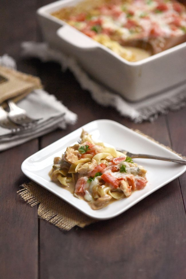 Creamy Caprese Chicken Casserole with Nodoles or Pasta