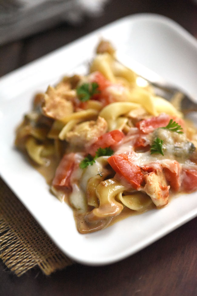 Creamy Caprese Chicken Casserole with Noodles