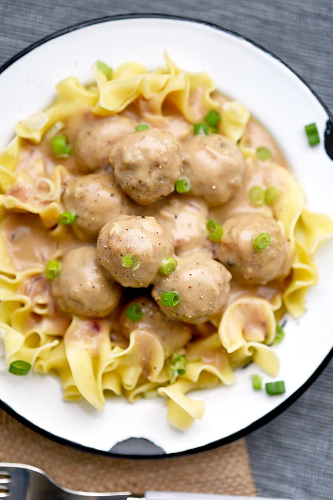 Easy Creamy Swedish Meatballs with Noodles