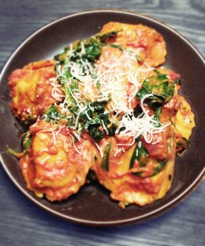 Creamy Tomato Spinach Ravioli
