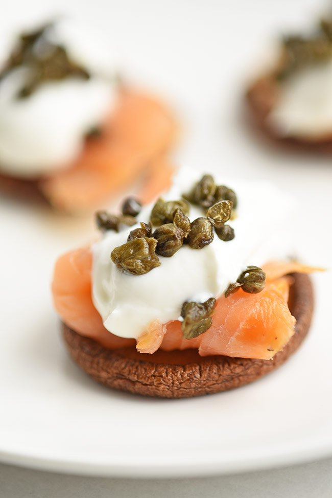 Crispy Mushroom Caps with Lox Appetizer