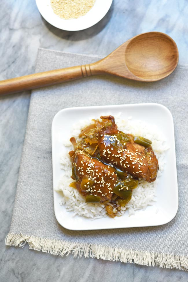 Crockpot Asian Sesame Chicken Thighs with Onions and Peppers