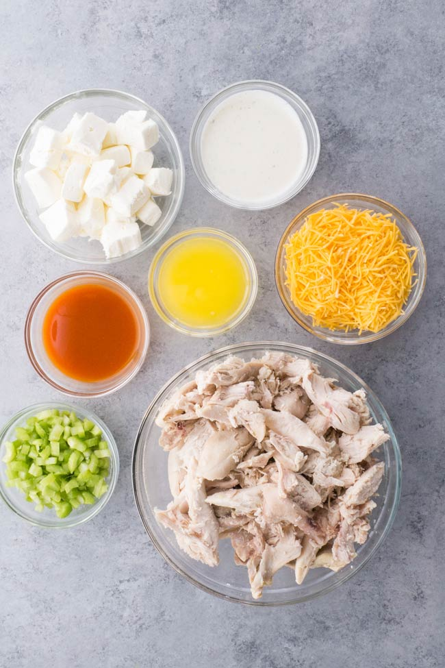 Ingredients for Crockpot Buffalo Chicken Dip
