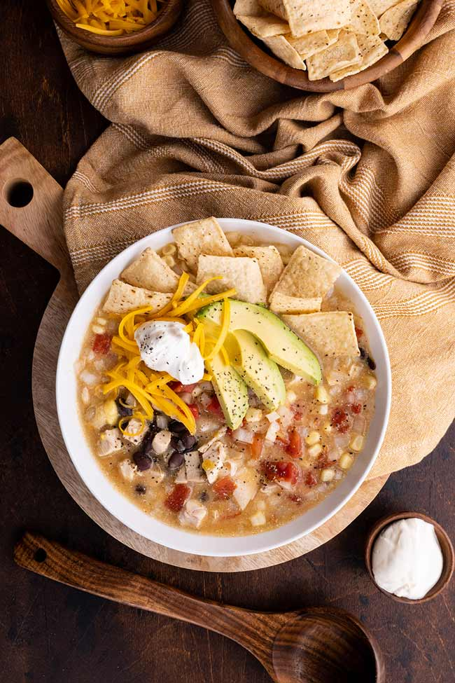 Chicken Tortilla Soup Served with Tortilla Chips
