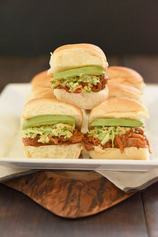 Curly's® Pulled Pork Hawaiian Roll Sliders stacked