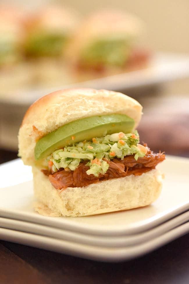 Curly's® Pulled Pork Hawaiian Roll Sliders with broccoli slaw