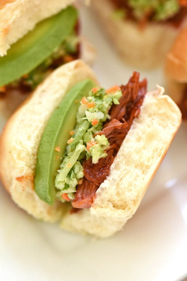 Pulled Pork Sliders with Coleslaw and Avocado