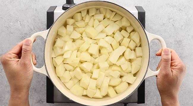 Cut pototatoes smaller to cook faster