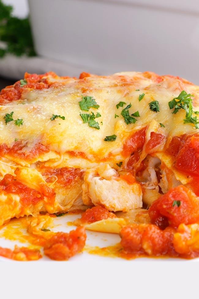 Slice of Chicken Parmesan Lasagna