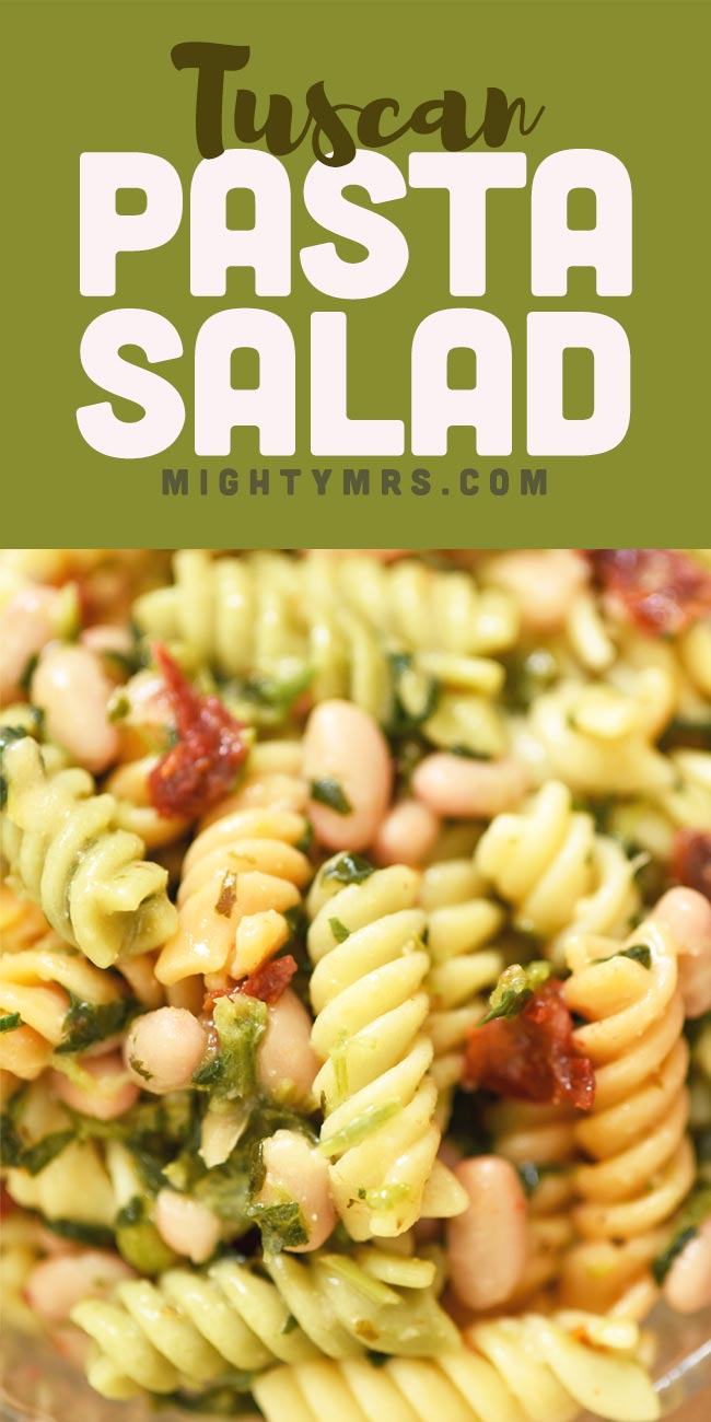 Tuscan Pasta Salad (5 Ingredients)