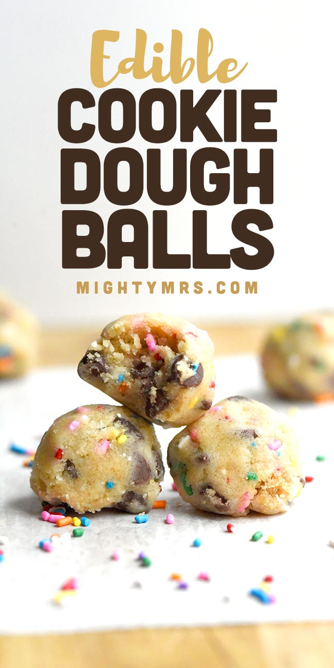 Easy Edible Cookie Dough Balls with Sprinkles