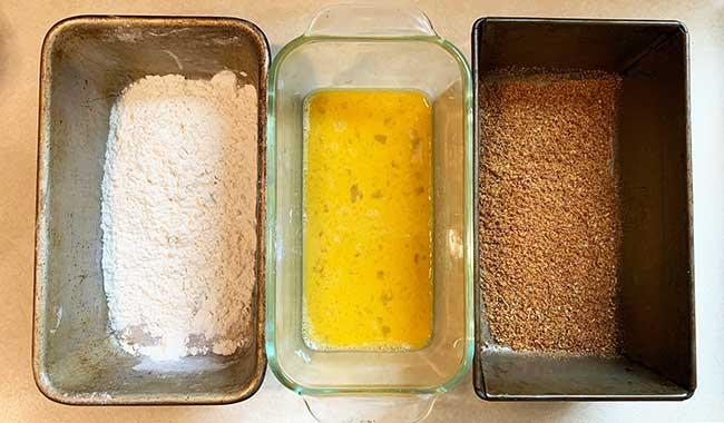 Egg, Flour, Bread Cumbs