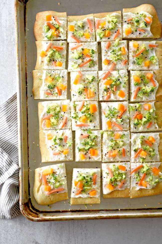 Everything Bagel Veggie Pizza Appetizer