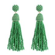 Green Bead Tassle Earrings