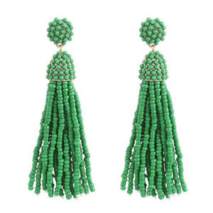 Green Bead Tassle Earrings