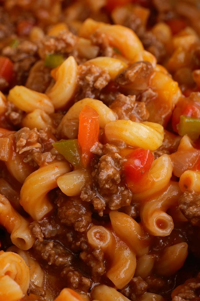 Close Up Old Fashioned Ground Beef American Goulash