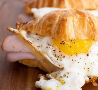 Ham, Egg and Cheese Croissant Breakfast Sandwich