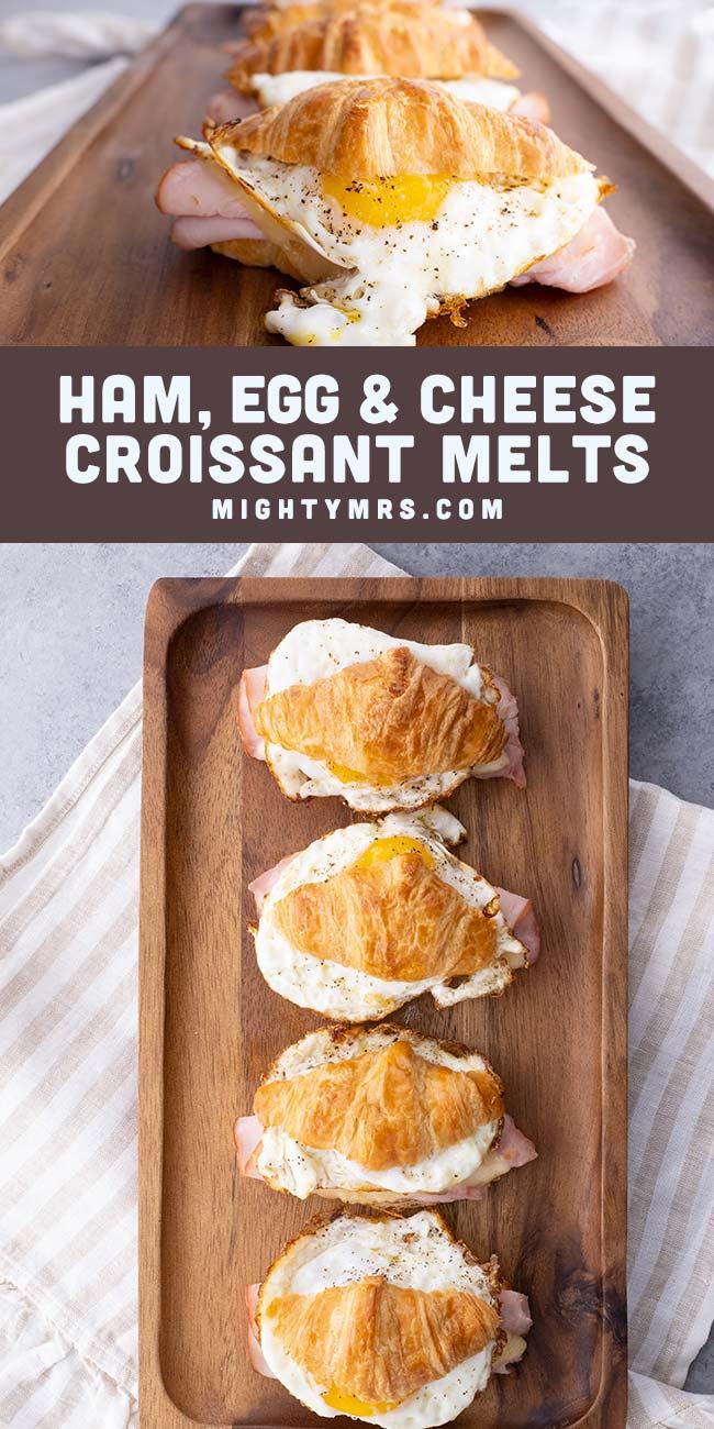 Ham Egg and Cheese Croissant Melt Sandwich