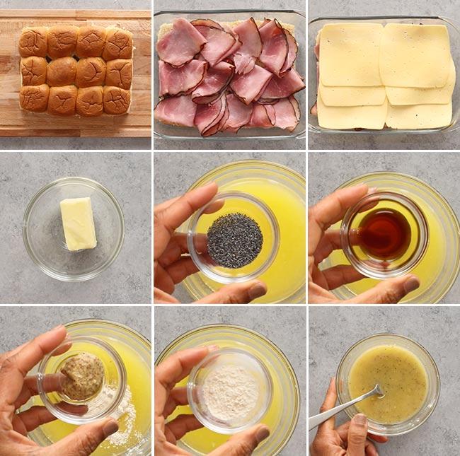 Ham and Cheese Hawaiian Roll Slider Ingredients