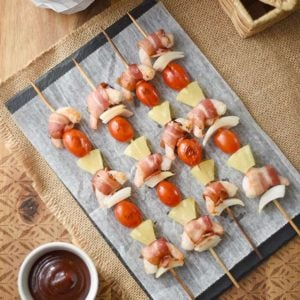 Hawaiian Kebabs with Bacon-wrapped Shrimp and Pineapple