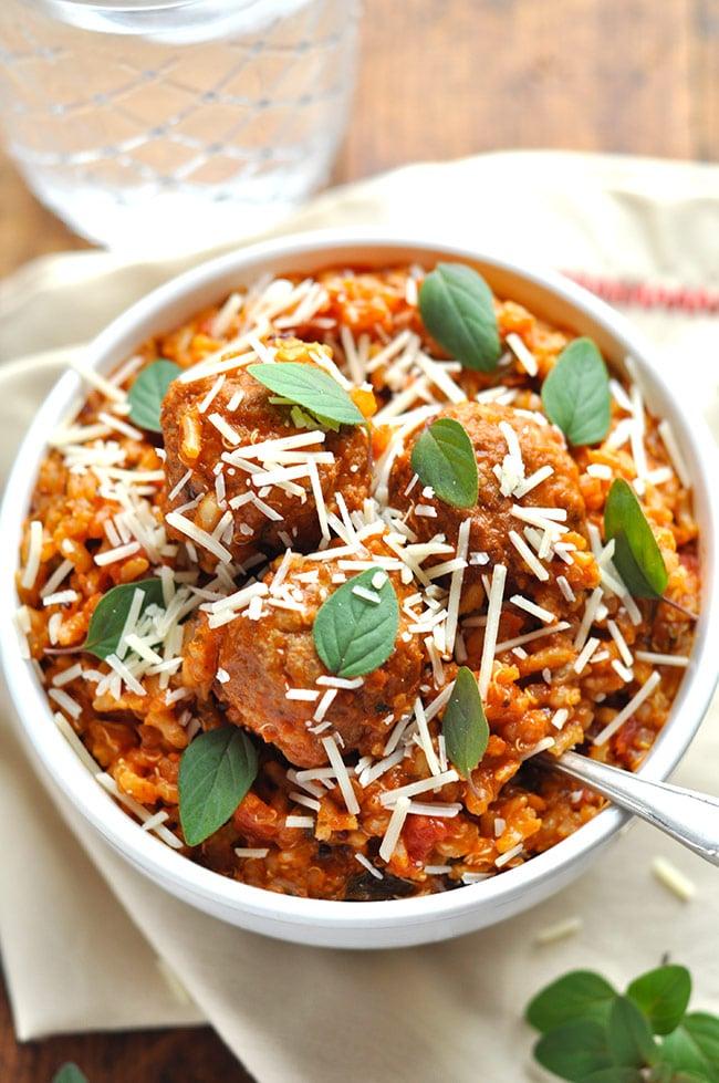Healthy Italian Turkey Meatball Skillet with Brown Rice & Quinoa