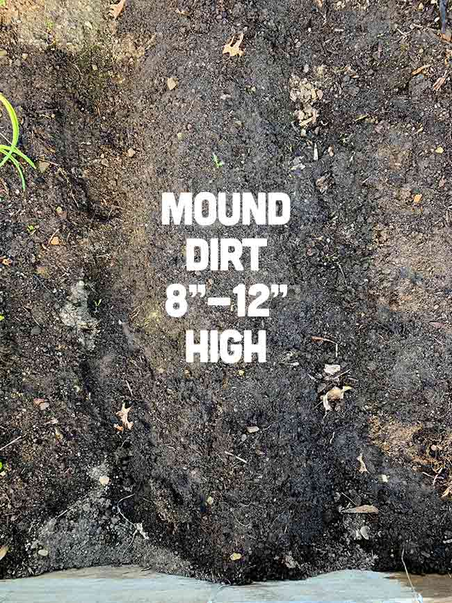"""Mound Dirt 8"""" - 12"""" High"""